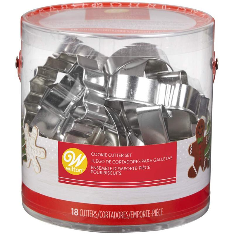 WILTON (ウィルトン)メタル ホリデー カッター18個セット 2308-5454 Holiday Shapes Metal Cookie Cutter Set, 18-Piece 【クリスマス】